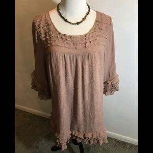 Taupe Frilly Gauze Top, size XL